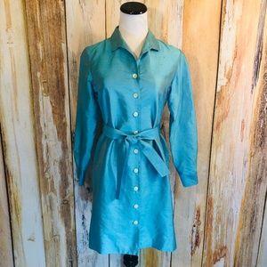 Alfani Turquoise Silk Shirt Dress Jacket 4P NWT!